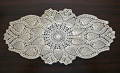 Crochet - Pineapple Oval Doily; Free pattern