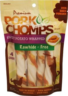 Scott Pet Products 4 Count Pork Chomps Sweet Potato Twistz Treat, Large -- Check out this great image  : Dog treats