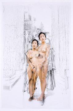 The Costume of Painter - Ingres 081016  2008  oil on vinyl, vinyl on photograph  232 x 154cm