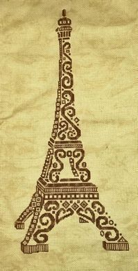 White Willow Stitching Tribal Eiffel Tower - Cross Stitch Pattern. Based on the artwork of Jamie Larson. Model stitched on 18 Ct. Country Mocha Aida with Thread