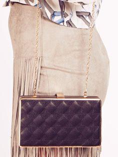 Dahlia Lillie Black Quilted Faux Leather Box Clutch Bag | Dahlia Leather Box, Black Quilt, Clutch Bag, Dahlia, Bags, Accessories, Fashion, Handbags, Moda