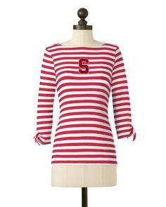 Stanford Cardinal   Striped Boat Neck Top   meesh & mia