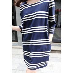 137a5fe78ee4 Buy Spring and summer new Korean women s casual loose big yards silm  Striped sweater dress at Wish - Shopping Made Fun