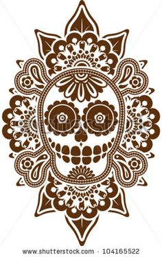 Decorative skull and bones in traditional Mexican style