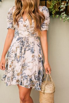 Gal Meets Glam Floral Wrap Dress -Ralph Lauren Denim & Supply dress & Doen bag