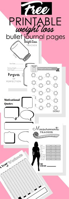 FREE Bullet Journal Printables. Weight Loss Tracker pages for your bullet journal.