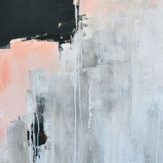 abstract painting, abstract art, black, white, pink, minimalist