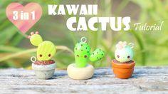 Kawaii Cactus│3 in 1 Polymer Clay Tutorial cacti cactuar succulent