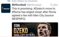 Roma-Dzeko: finalmente ci siamo. Il Manchester City ha accettato l'offerta dei giallorossi Sono settimane che se ne parla ma finalmente sembra che la Roma sia riuscita finalmente a trovare l'accordo per il passaggio in maglia giallorossa dell'attacante bosniaco del Manchester City Ediz Dze #dzeko #roma #calciomercato