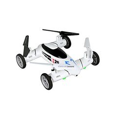 Blu7ive Flying Quadcopter Car Remote Control Car and Quadcopter Drone without Camera 360 3D Rolling Mode 24Ghz 4Axis White RC Drone *** Click image for more details.Note:It is affiliate link to Amazon. #igers