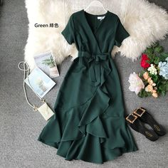 Ruffle V Neck Midi Dress White Bow Tunic Summer Office Korean Sexy Elegant Short Sleeve Plus Size Green Red Dress Women Vestidos Elegant Dresses Classy, Elegant Dresses For Women, Classy Dress, Pretty Dresses, Beautiful Dresses, Casual Dresses, Fashion Dresses, Classy Casual, Event Dresses