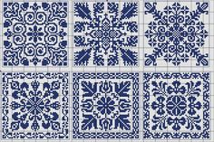 Square tiles - Chart for cross stitch or filet crochet. Cross Stitch Samplers, Cross Stitch Charts, Cross Stitch Designs, Cross Stitching, Cross Stitch Embroidery, Embroidery Patterns, Cross Stitch Patterns, Blackwork Patterns, Crochet Chart