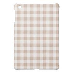 Tan Gingham Plaid iPad Mini Cases
