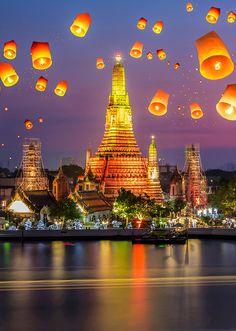 Beautiful lanterns float in the air over Bangkok, Thailand Travel Honeymoon Backpack Backpacking Vacation Southeast Asia Wanderlust Budget Off the Beaten Path Bangkok Travel, Thailand Travel, Phuket Travel, Places To Travel, Travel Destinations, Khao Lak, Beach Gardens, Island Tour, Rafting