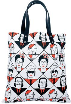 Great Modern Artists Tote Bag by Andy Tuohy, distributed by 80 Days. Print Artist, Artist Canvas, Leather Handle, Real Leather, Tatty Devine, Modern Artists, Lovers Art, Canvas Tote Bags, Cool Designs