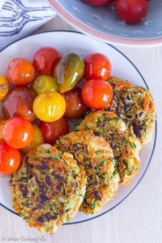Vegan Zucchini Carrot Fritters with Pan-Roasted Tomatoes // Vegan, Gluten-Free, Dairy-Free, Nut-Free, and Vegetarian // www.mesacookingco.com