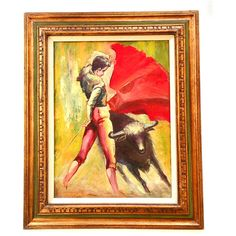 1970 Bullfight Painting ($150) ❤ liked on Polyvore featuring home, home decor, wall art and bullfight