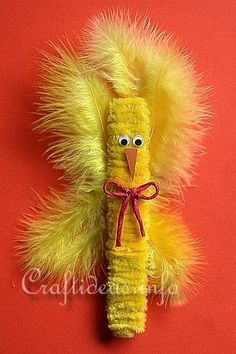 Easter Craft for Kids - Fuzzy Craft Stick Easter Chick