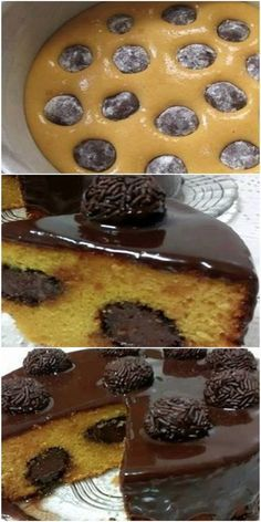 Carrot cake that comes out of the oven Stuffed with Brigadeiro .- Bolo de Cenoura que já sai do forno Recheado com Brigadeiro. Carrot cake that comes out of the oven Stuffed with Brigadeiro. Easy Desserts, Delicious Desserts, Dessert Recipes, Yummy Food, Cupcakes, Cupcake Cakes, Brownie, Churros, How Sweet Eats