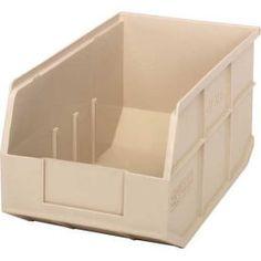 "Bins, Totes & Containers | Bins-Stack & Hang | Quantum Plastic Stacking and Hanging Shelf Bin SSB443 8-1/4""W x 14""D x 7""H, Ivory - Pkg Qty 12 | B815590 - GlobalIndustrial.com Shelf Bins, Hanging Shelves, Storage Shelves, Freezer Storage, Tote Storage, Storage Chest, Stacking Bins, Stackable Shelves, Wire Shelving Units"