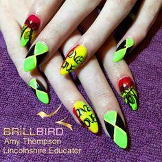 Jamaican nails. Rasta nails. Jamaica. Tropical. Ombré. Nail design nail art summer holiday nails