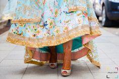 Floral printed lehenga , turquoise lehenga , glittery peeptoe heels