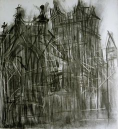 Gloucester Cathedral II - Dennis Creffield - James Hyman: Fine Art and Photographs Landscape Drawings, Architecture Drawings, Landscape Architecture, Charcoal Art, Charcoal Drawings, Gloucester Cathedral, A Level Art, Sense Of Place, Ways Of Seeing