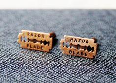 Razor Blade Cufflinks  Jagged Gadget  Words Cuff by CleopatraNYC, $49.00
