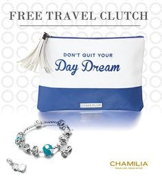 Stop by our store today and receive your free travel clutch when you spend $100 or more on any #Chamilia product.  Offer available till August 18th while supplies last.