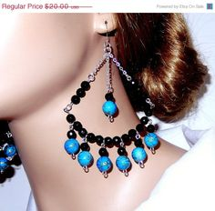 ON SALE 20 Lightweight blue beaded chandelier bauble by NezDesigns