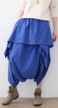 Women's original design literary irregular asymmetric blue cropped trousers Wide Pants, Elastic Waist Pants, Summer Pants, Plus Size Pants, Floral Pants, Cropped Trousers, Cotton Pants, Cotton Linen, Casual Pants