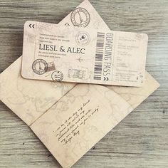Travel inspired wedding invitation with boarding pass to the wedding…