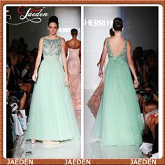 HE135 Special Occasion Women V Back Crystals Jeweled Bodice A-line Tulle Long Prom Dress Gown Green  $173.99