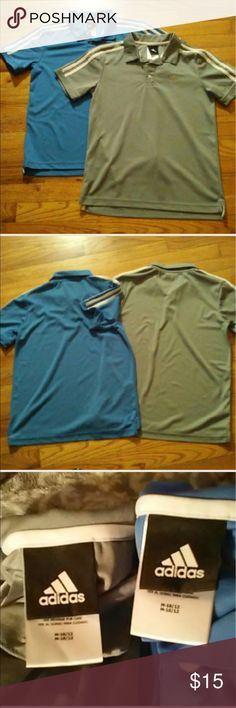 ADIDAS Boys' Shirts 2 ADIDAS boys short-sleeve shirts with collars and a 3-button Opening at neckline. Both are identical except for the colors... one is blue/white & the other one is gray/white. They are in very good condition. adidas Shirts & Tops