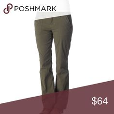 "Prana Amira Pant in Cargo Green, NWT Tall! Prana Amira Pant in Cargo Green, NWT Tall! Size 12; 19"" width, 10"" rise, 34"" inseam. 96% nylon, 4% spandex. Sold out online. Mid-rise, relaxed fit. An embroidered leg adds feminine style to stretch performance fabric that's wrinkle resistant, water resistant, and quick-drying. Stretch performance variegated ripstop with durable water repellent (DWR) finish. Front and back flap patch pockets, Interior waist drawcord. New with tags. Prana Pants"