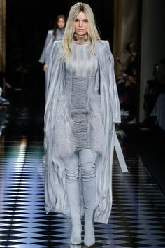 PFW Fall 16 RTW   Kendall Jenner in blue fur skirt corset, suede thigh boots, striped top, and cape   The Luxe Lookbook