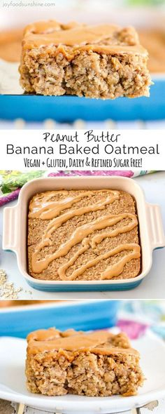 Healthy Peanut Butter Banana Baked Oatmeal Recipe! The perfect make-ahead breakfast! Gluten-free, dairy-free, & vegan-friendly with no refined sugar!