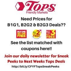Full List of Tops B1G1 deals 3/5-3/11: Free Go Veggies Slices, $.67 Tops Bread, $.49 Sundried Tomatoes, $.44 Canned Veggies or Tomatoes and more - http://www.couponsforyourfamily.com/full-list-tops-b1g1-deals/