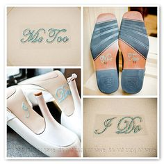 """Something Blue """"I Do"""" shoe sticker for the bride & matching """"Me Too"""" sticker for the groom shoes ... perfect! My Perfect Wedding, Wedding With Kids, Dream Wedding, Our Wedding, Wedding Things, Wedding Stuff, Dance Floor Wedding, Wedding Poses, Wedding Engagement"""