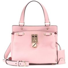Valentino Valentino Garavani Leather Shoulder Bag ($2,175) ❤ liked on Polyvore featuring bags, handbags, shoulder bags, pink, valentino handbags, pink purse, genuine leather handbags, shoulder hand bags and pink handbags