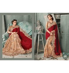 Golden and red saree exclusive designer saree 2015