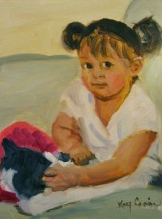 """Emily and her Cat"" by Missouri Artist Kay Crain  oil on board  8x8 Private Collection  www.kaycrain.com then hit ""BLOG"""