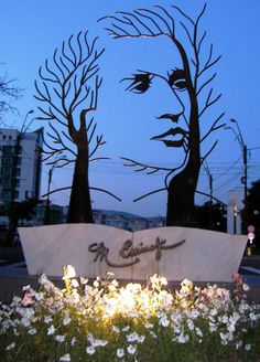 Poet Mihai Eminescu, sculpture in Onești Romanian Flag, Interesting Reads, Tudor, Graffiti, Street Art, Sculptures, Around The Worlds, History, Amazing