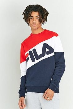 Fila Nate Red and Navy Crewneck Sweatshirt