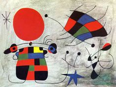 """This painting, """"Figures and Dog in front of the Sun"""", 1949 by world renowned artist Joan Miro, is especially notable for his treatment of the background. Description from pinterest.com. I searched for this on bing.com/images"""