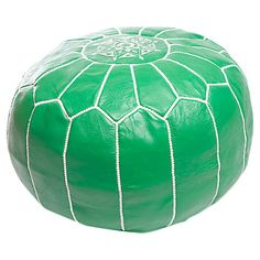 Add a pop of exotic style to your living room or master suite with this eye-catching leather pouf, showcasing Moroccan-inspired stitching and a vibrant green...