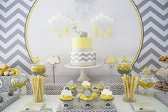 Cute grey and yellow elephant themed shower for your little peanut