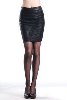 Solid Lace Decorated Pencil Short Mini Skirt | Stylish Beth