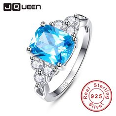 Aliexpress.com : Buy 2017 luxurious Blue Ring Genuine 925 Sterling Silver Cocktail Party Rings Topaz Stone Women Female Size 6 9 Free Gift Package from Reliable package rings suppliers on JQUEEN 925 Silver Jewelry Store