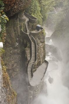 Staircase at Pailón del Diablo waterfall in Ecuador, South America. The waterfall is located on the Pastaza River (just 30 minutes away from the town of Baños).
